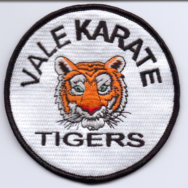 embroidered badge designs for vale karate in barry  glamorgan  wales